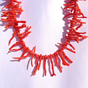 Rare, Vintage, Natural, Spiny Coral Necklace/Sterling Heart Clasp