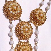 Vintage Gold Tone Florenza Necklace & Clip-on Earring Set