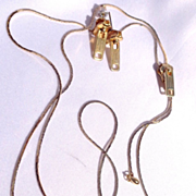 Vintage (Lariat Style) Goldtone Zipper Necklace & Pierced Earring Set