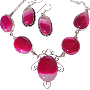 Fuchsia Agate Necklace/Earring Set
