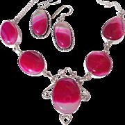 CLEARANCE-Fuchsia Agate Necklace/Earring Set