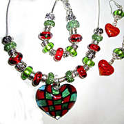 3 Piece Glass Heart with Lampwork Beads on Sterling Chain, Necklace, Bracelet/Earring Set