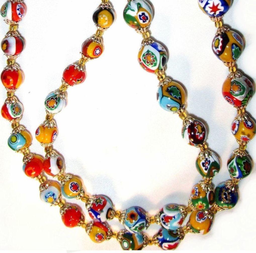 "28"" Vintage Art Deco Venetian Murano Millefiori Necklace"
