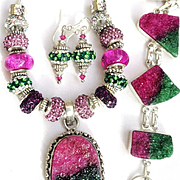 3 Piece Set-Fuchsia Druzy, Murano Style Bead Necklace/Earrings with Druzy Bracelet