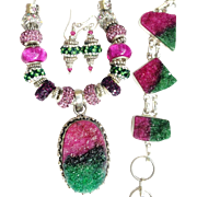 3 Piece Set-Fuchsia Druzy, Murano Style Bead Necklace/Earrings with Druzy Bracelet