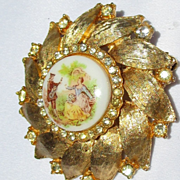 2 Vintage Pins/Golden Wheel of Serenade Brooch