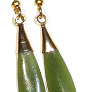 Vintage Green Jade Teardrop Earrings
