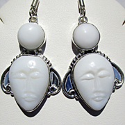 White Agate Carved Face Earrings