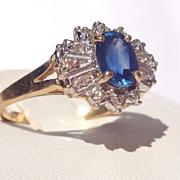 Vintage 14k Gold Sapphire/Diamond Ring 71/2