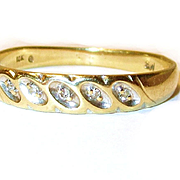 Vintage 10k Yellow Gold Wedding Band with Diamonds/9