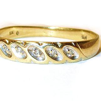 Vintage 10k Yellow Gold Wedding Band with Diamonds/9