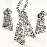 Vintage Rhinestone Necklace/Earring Set
