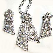 Vintage Rhinestone Necklace/Earring Set