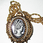 Vintage Black Cameo/Watch Pendant with Chain