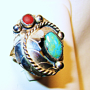 Vintage Navajo, Turquoise, Coral, Silver Ring Sz.11 1/2