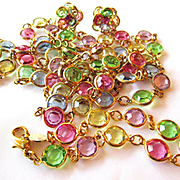 Vintage Swarovski Pastel Bezel Set Crystal Necklace, Bracelet/Earring Set