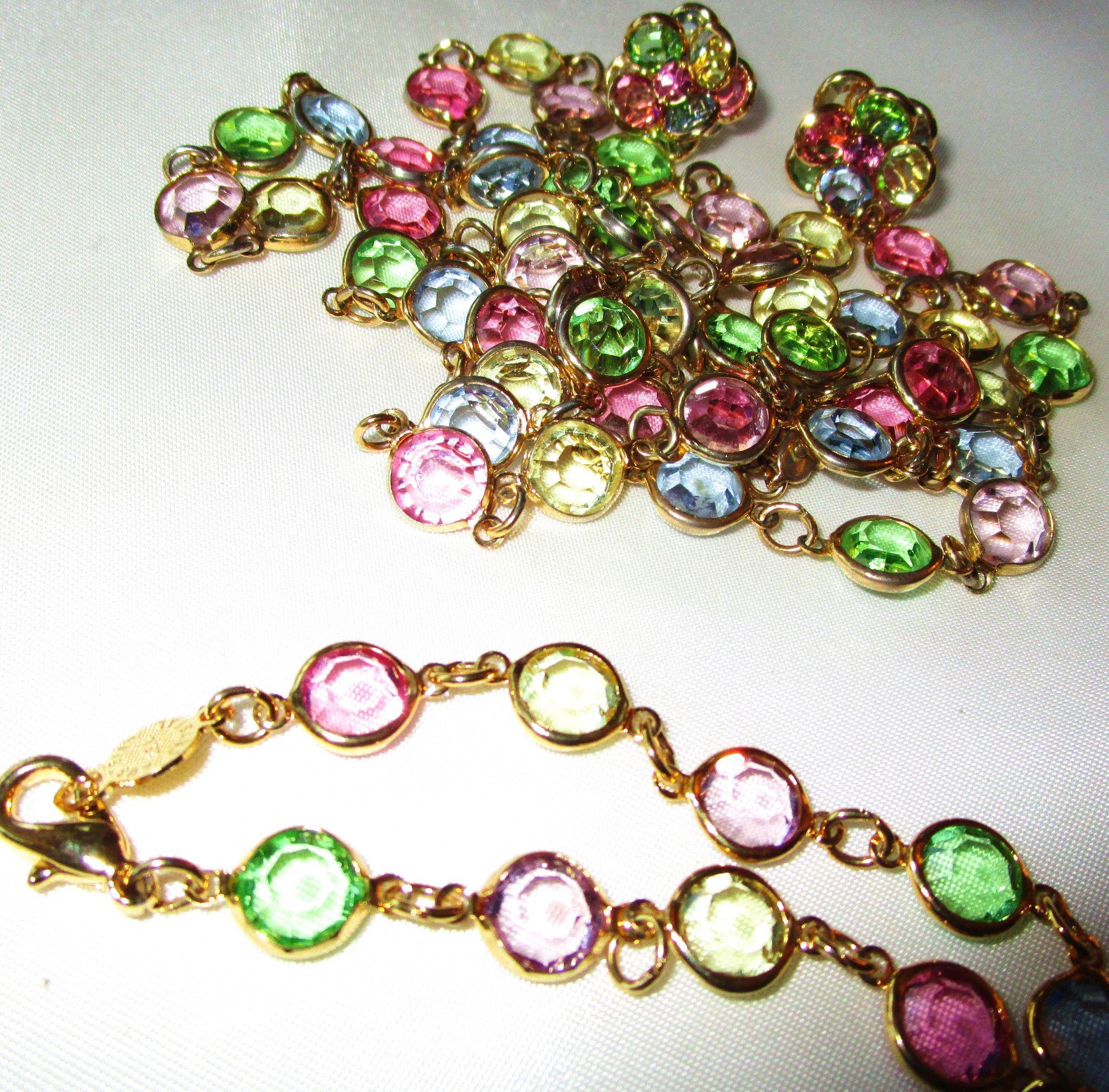Vintage Swarovski Pastel Bezel Set Crystal Necklace ...
