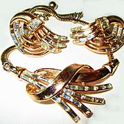 Vintage Stunning/Rare Trifari Baguette Rhinestone Necklace/Earring Set