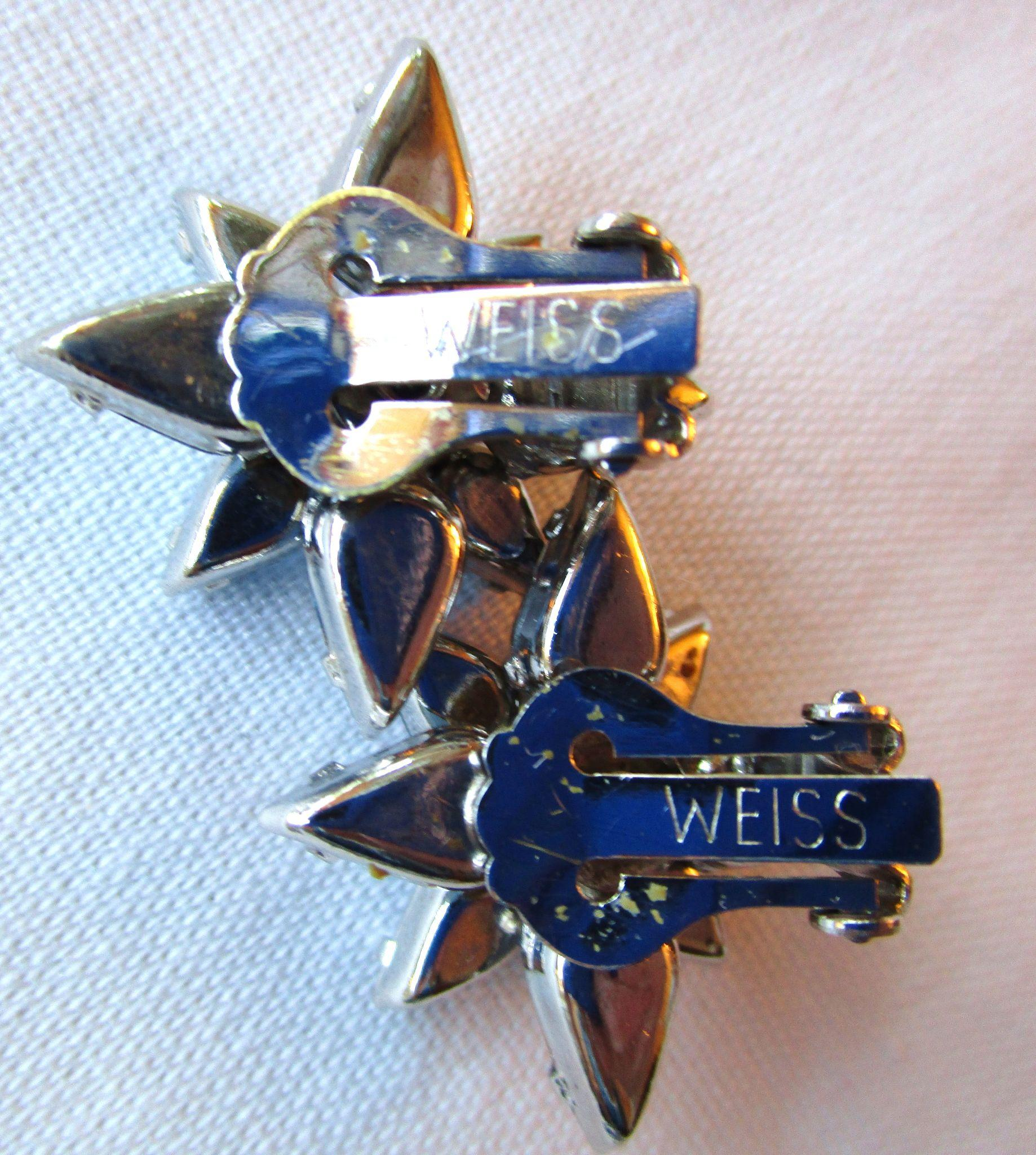 vintage weiss blue star clip on earrings sold on ruby lane. Black Bedroom Furniture Sets. Home Design Ideas