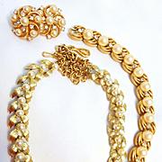 3-Piece Rare Vintage Crown Trifari Pearl/Rhinestone Bracelet, Necklace and Earring Set