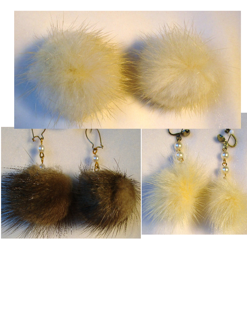 3 Vintage Pairs of Mink Earrings /1 Ring