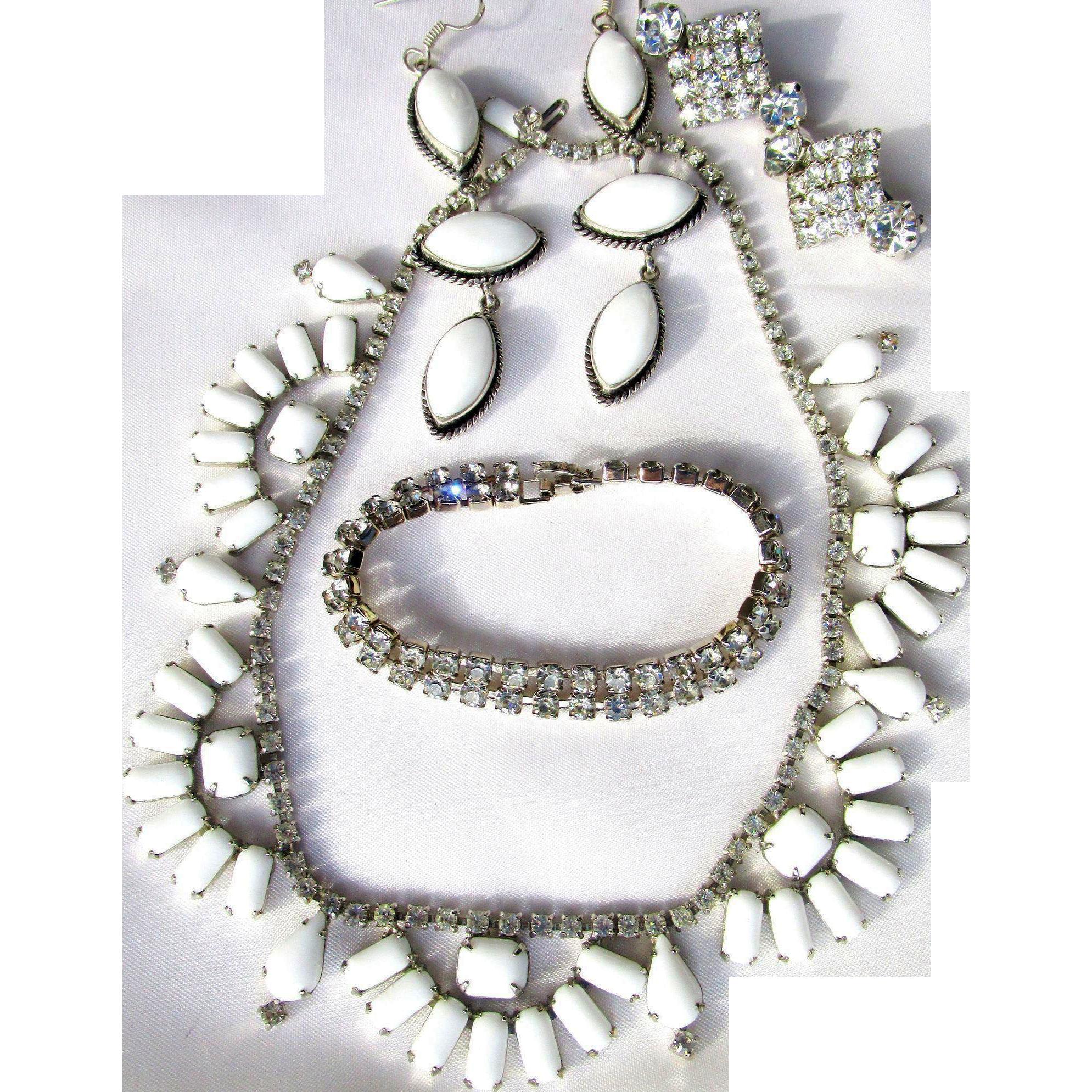 4 Pc. Vintage Kramer Baguette Shaped Milkglass Necklace and 2 pr. Agate/Crystal Earrings/Bracelet