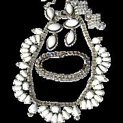 Vintage Kramer Baguette Shaped Milkglass Necklace and Crystal Earrings