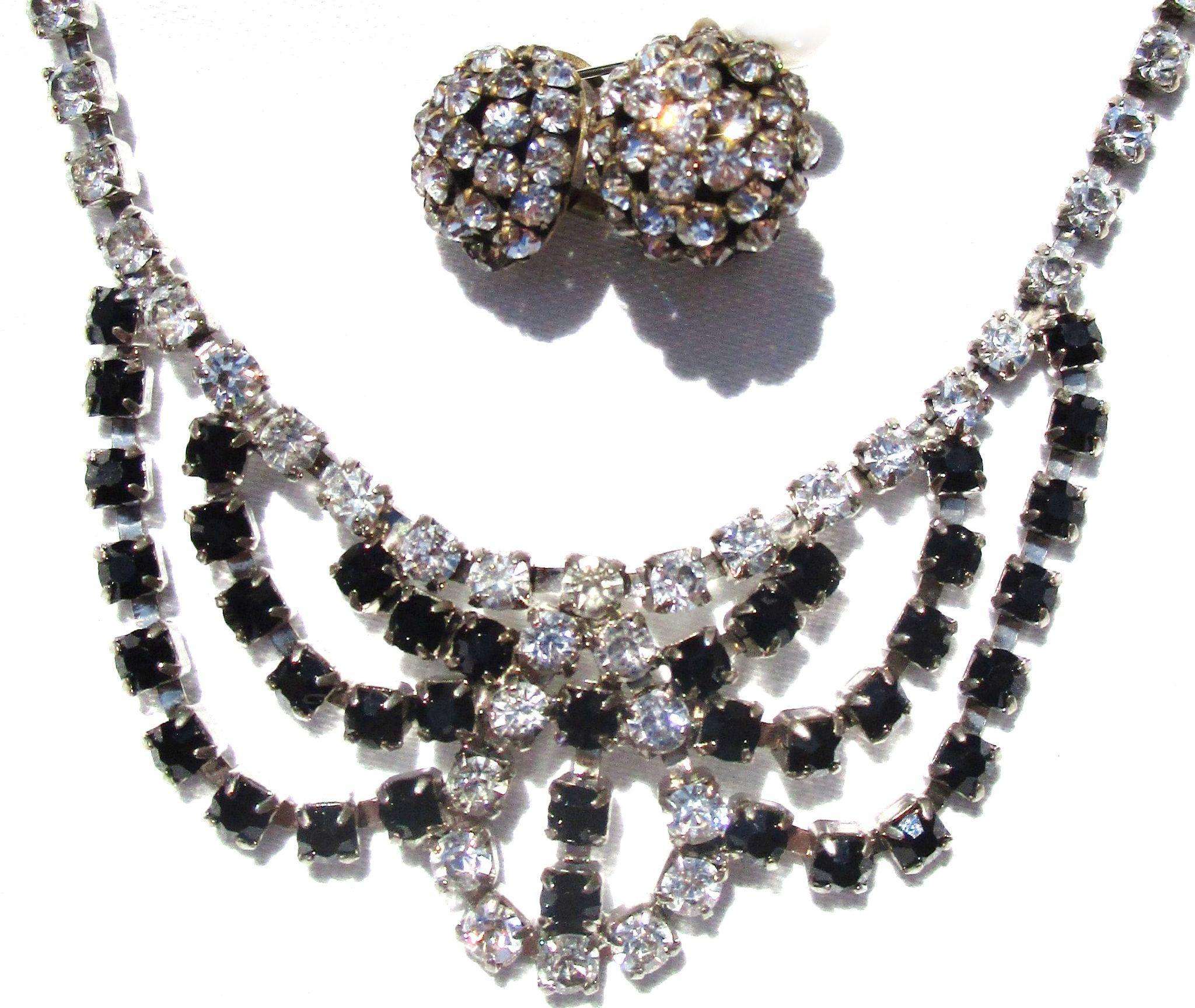 Vintage Black and White Rhinestone Necklace/Earrings