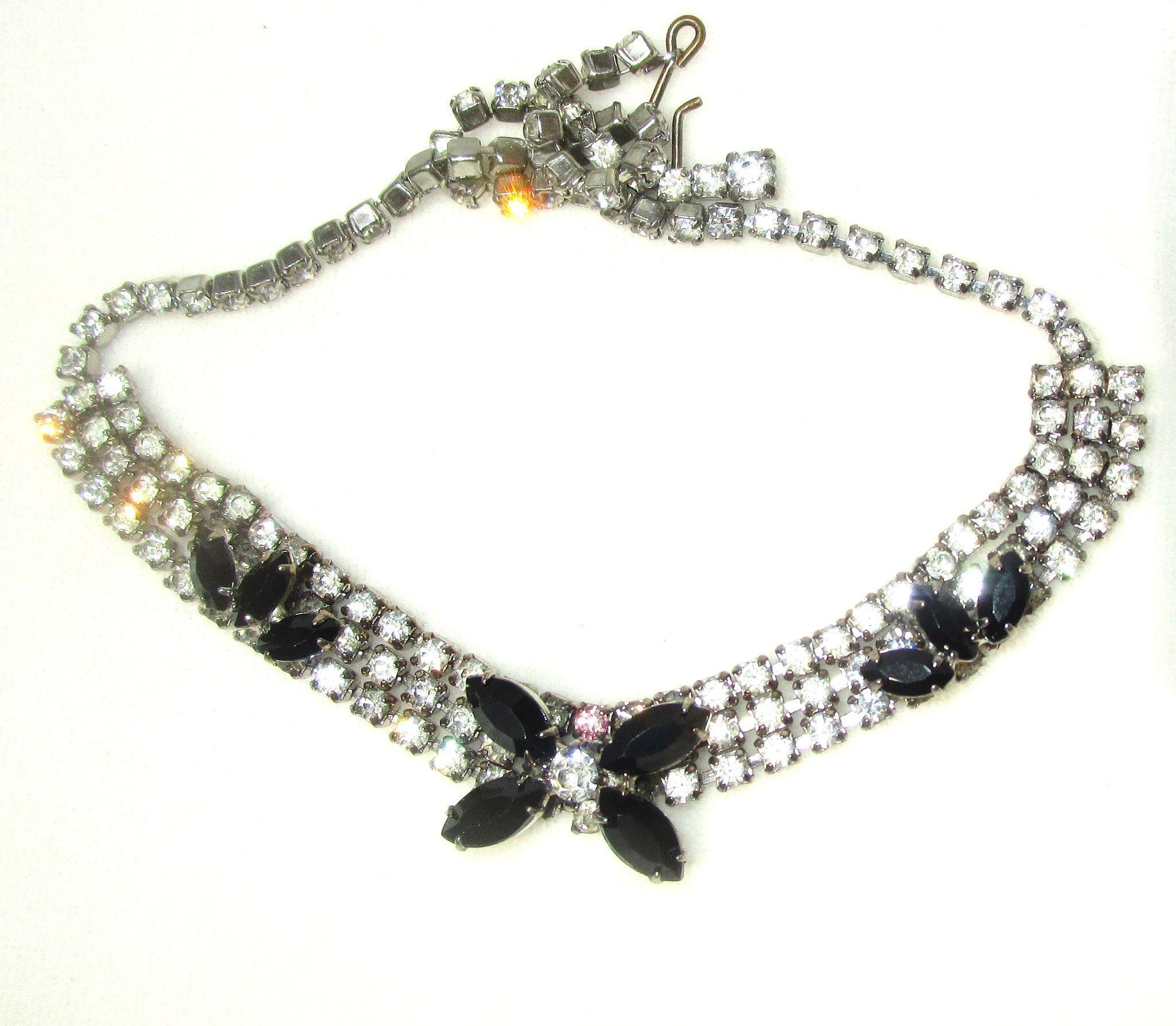 Vintage Black and White Rhinestone Necklace/Matching Earrings