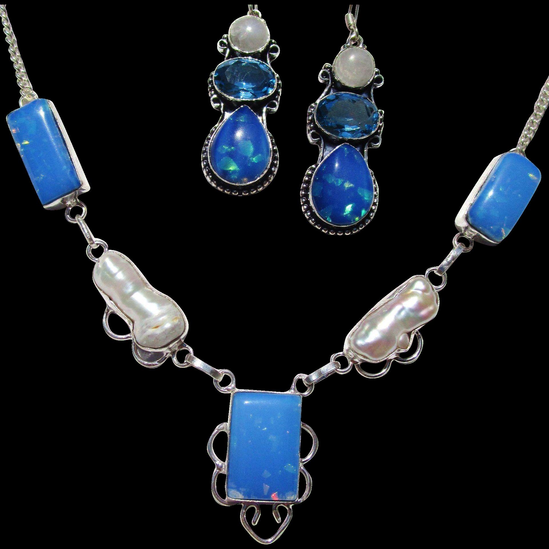 Dichroic Glass/Biwa Pearl Necklace/Earring Set