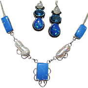 Dichroic Glass/Biwa Pearl Necklace/Earring Set