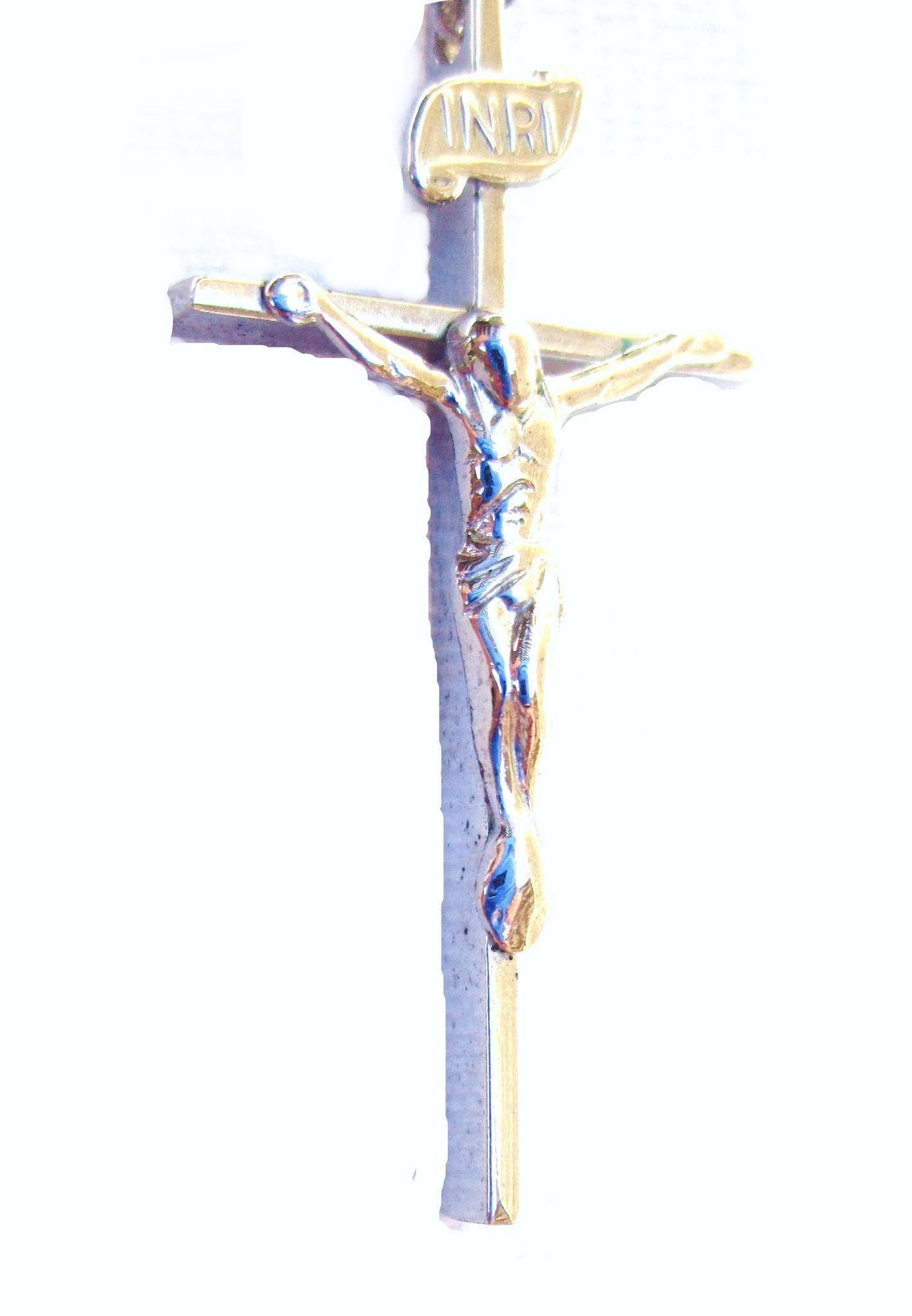 Sterling Silver Cross with Jesus/16 Inch Sterling Chain