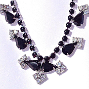 2-Vintage Black and White Rhinestone Necklaces/Earrings