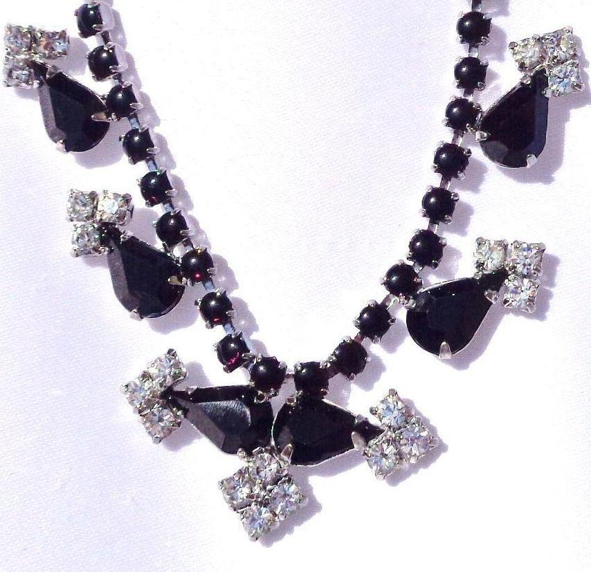 Vintage Black and White Rhinestone Necklace