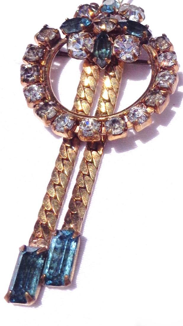 Vintage Sapphire Blue Tassel Pendant/Brooch
