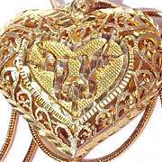 Vintage14k  Gold over Sterling Silver Italian Heart Pendant and Chain
