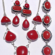 3 Piece Coral Colored Stones, Necklace/Bracelet/Earring Set