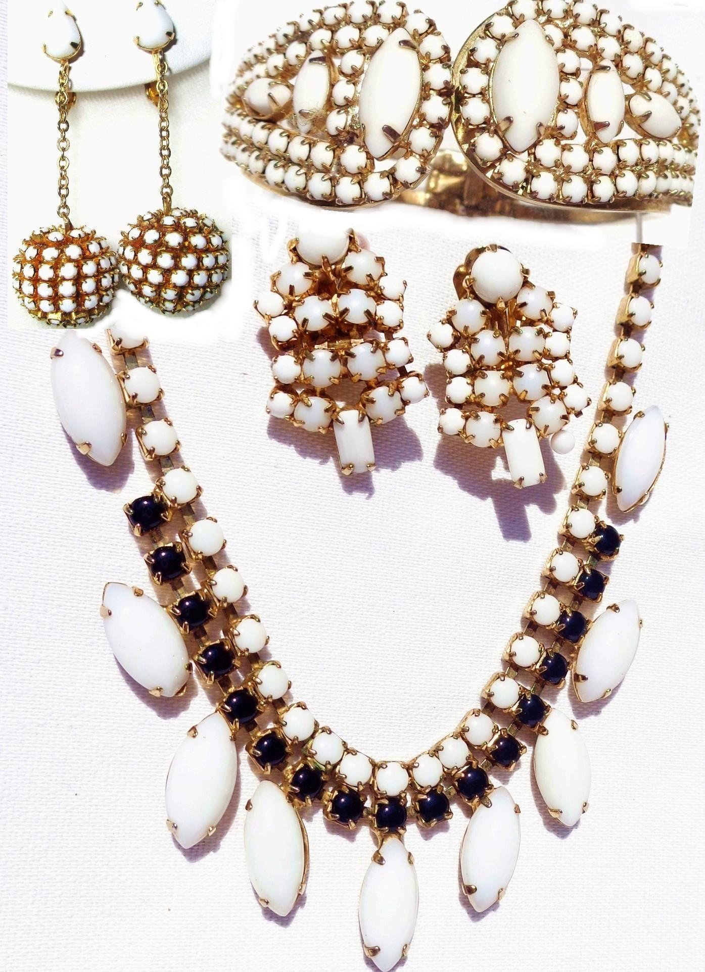 Vintage 4-piece Milk Glass in Gold tone, Necklace,2- Earrings and Bracelet