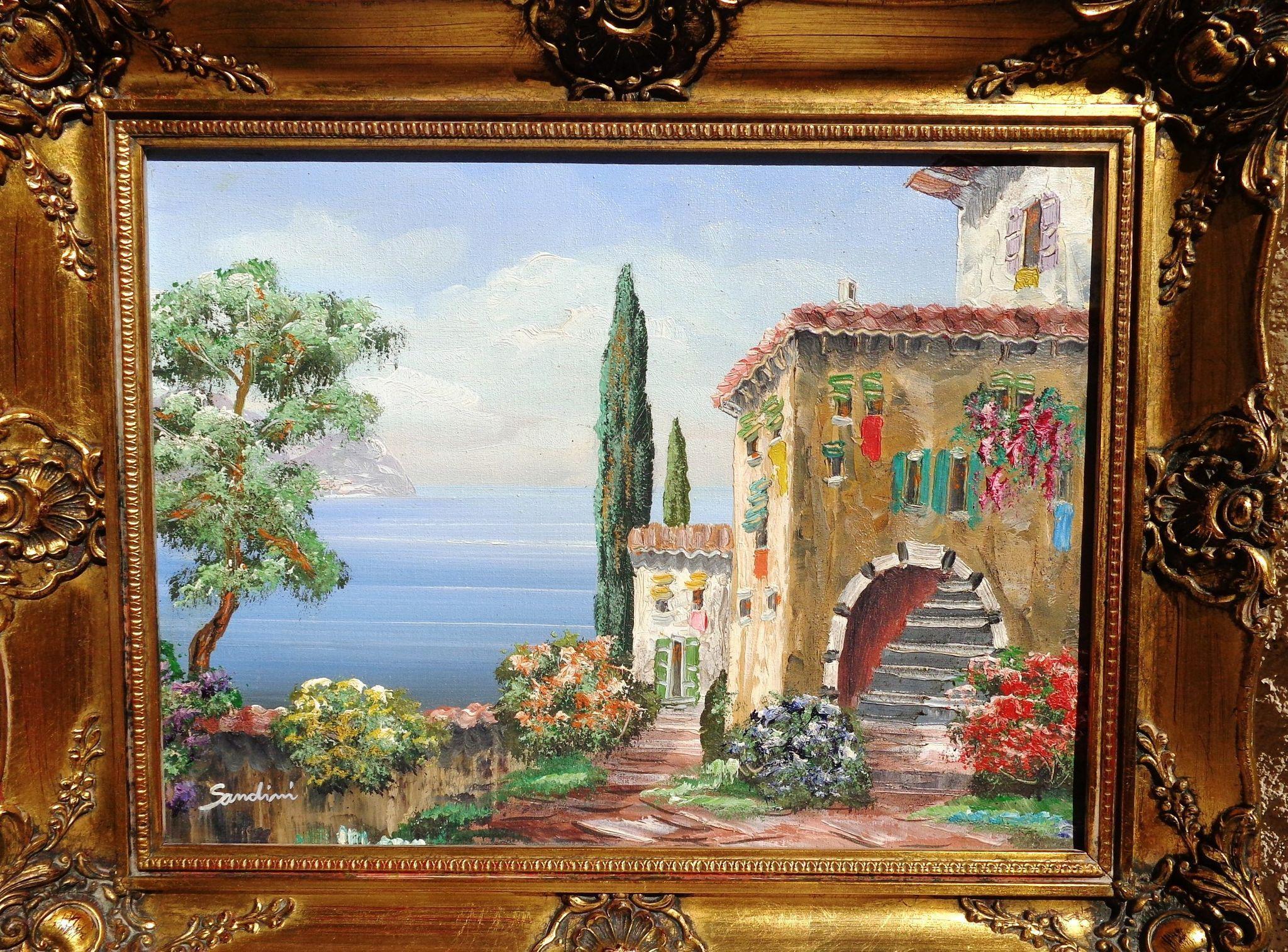 Rare Italian Landscape Oil Painting by Luigi Sandini