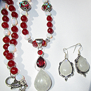 Moonstone and Red Agate Necklace/Earring Set