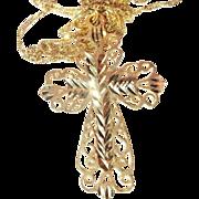 Vintage 14K Gold (3.6g.) Filigree Cross with Diamond Cut Chain