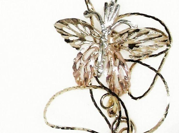 """Tri Colored 14 K Gold Butterfly Pendant with 20"""" 14k Diamond Cut Chain"""