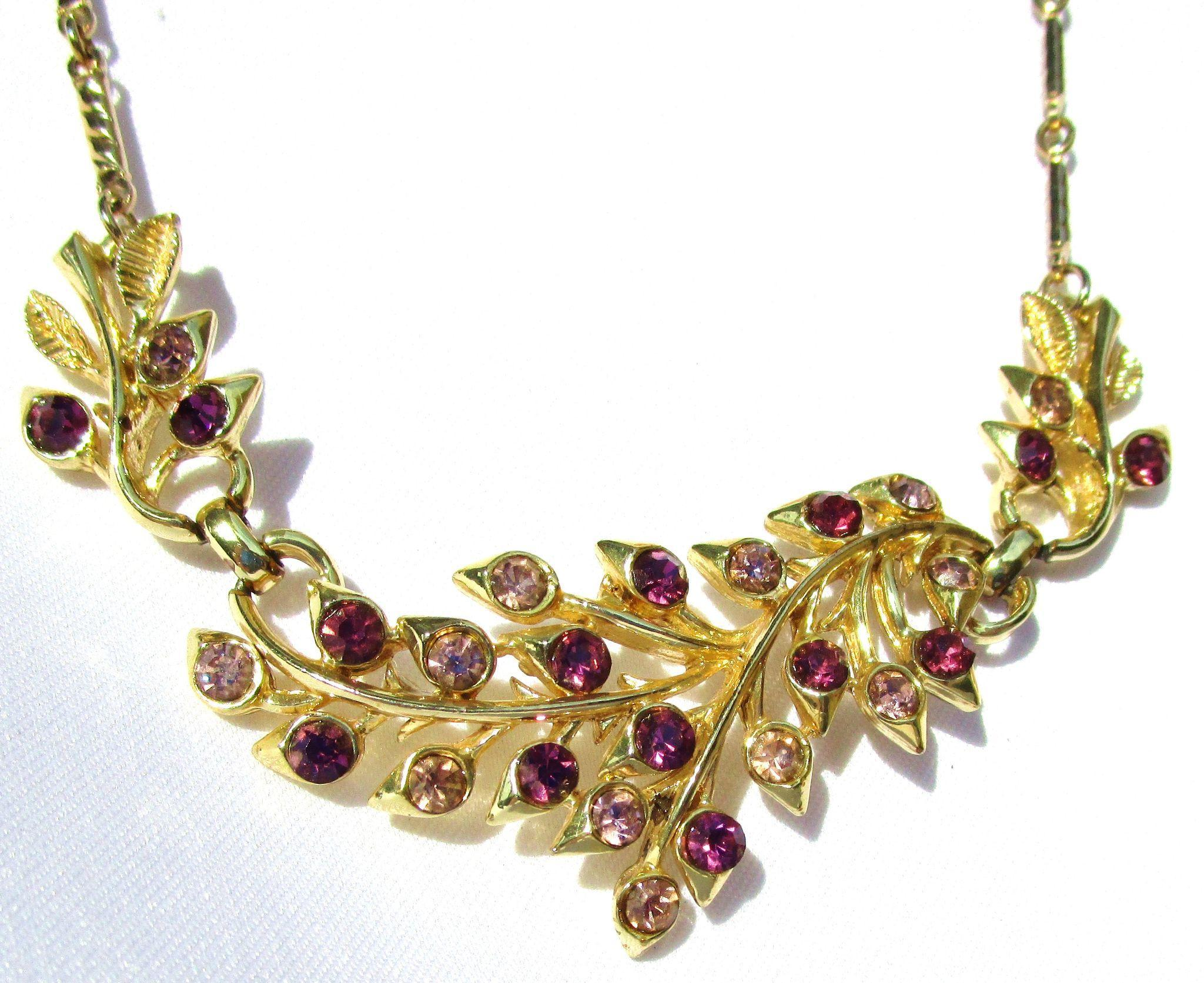 Vintage Coro Gold Tone/Purple Necklace