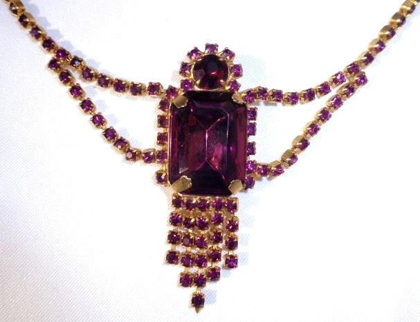 Vintage Large Rectangular Purple Crystal on Chain of Purple Rhinestones