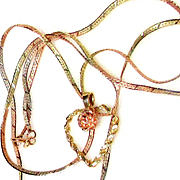 3.6 Gr. 14 K. Gold/TRI-Colored Gold Pendant and Chain With Rose in Heart