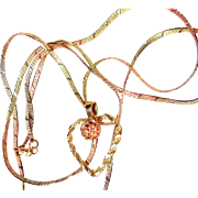 5.6 Gr. 14 K TRI-Colored Gold Heart Necklace/Bracelet