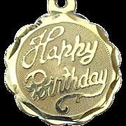 Vintage 14k Gold Happy Birthday Pendant