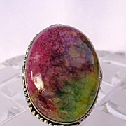 Bright Colored Veined Agate Ring-8 1/2