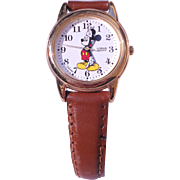 Vintage Disney Mickey Mouse Watch With Leather Band-Never Worn