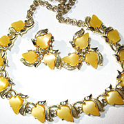Vintage Yellow and Goldtone Leaf Choker/Necklace/Earrings